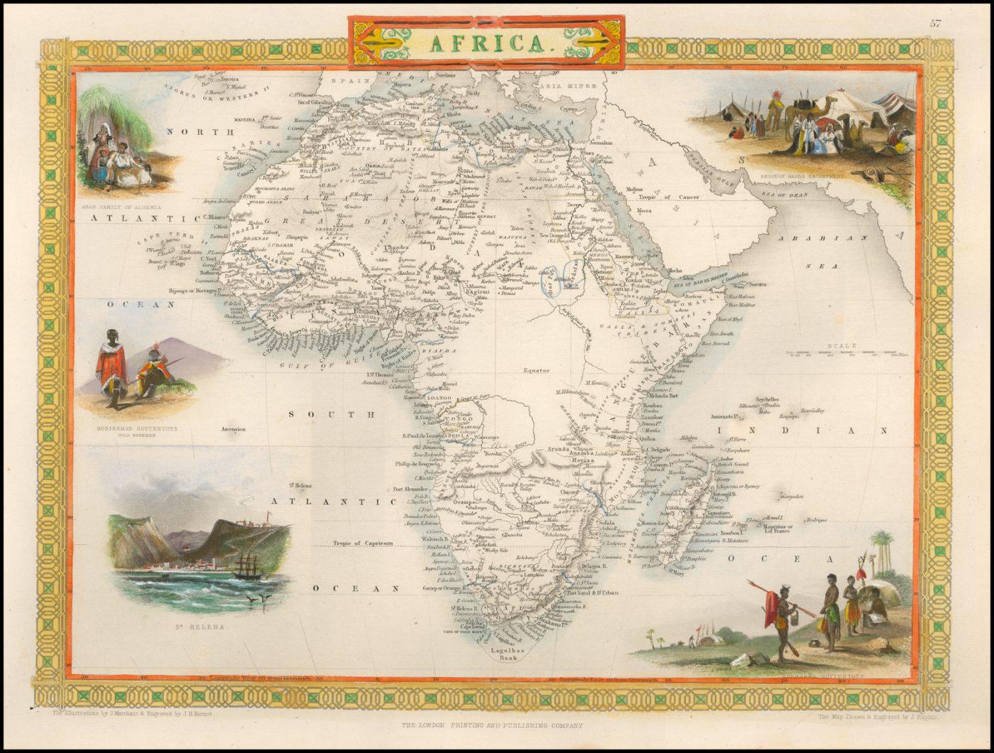 Редкая карта Африки, составленная Таллисом в 1851 году