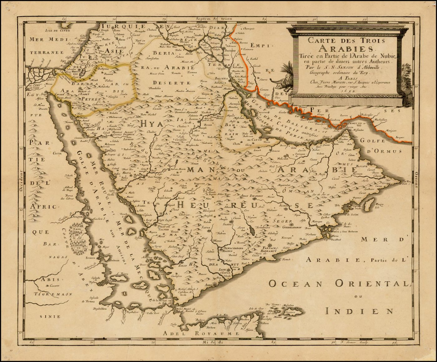 Редкая карта Аравийского полуострова от Сансона
