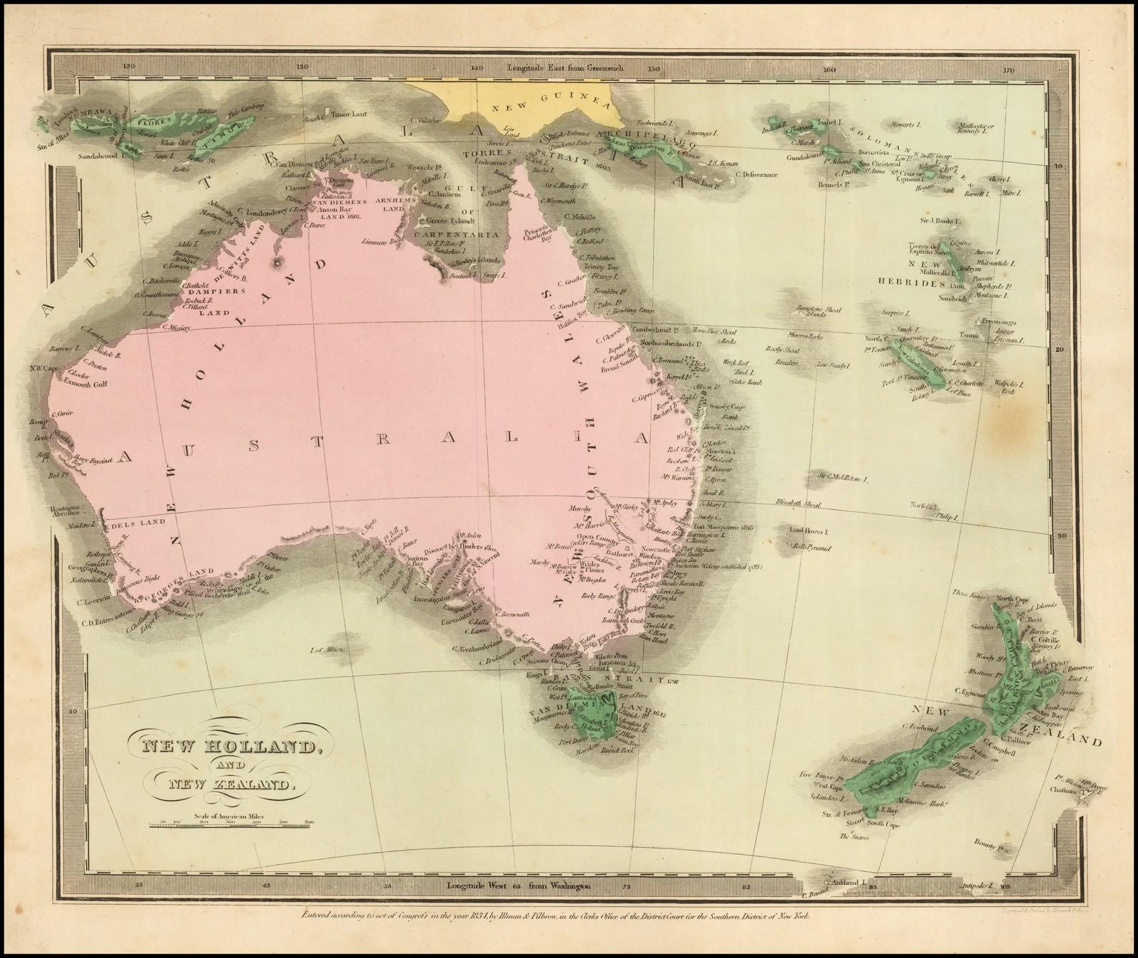 Редкая карта Австралии работы Дэвида Бурра 1835 года