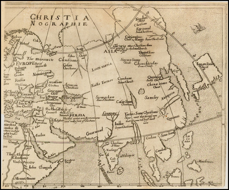 Редкая карта Азии из Христианографии Эфраима Пейджита, впервые опубликованная в Лондоне в 1636 году
