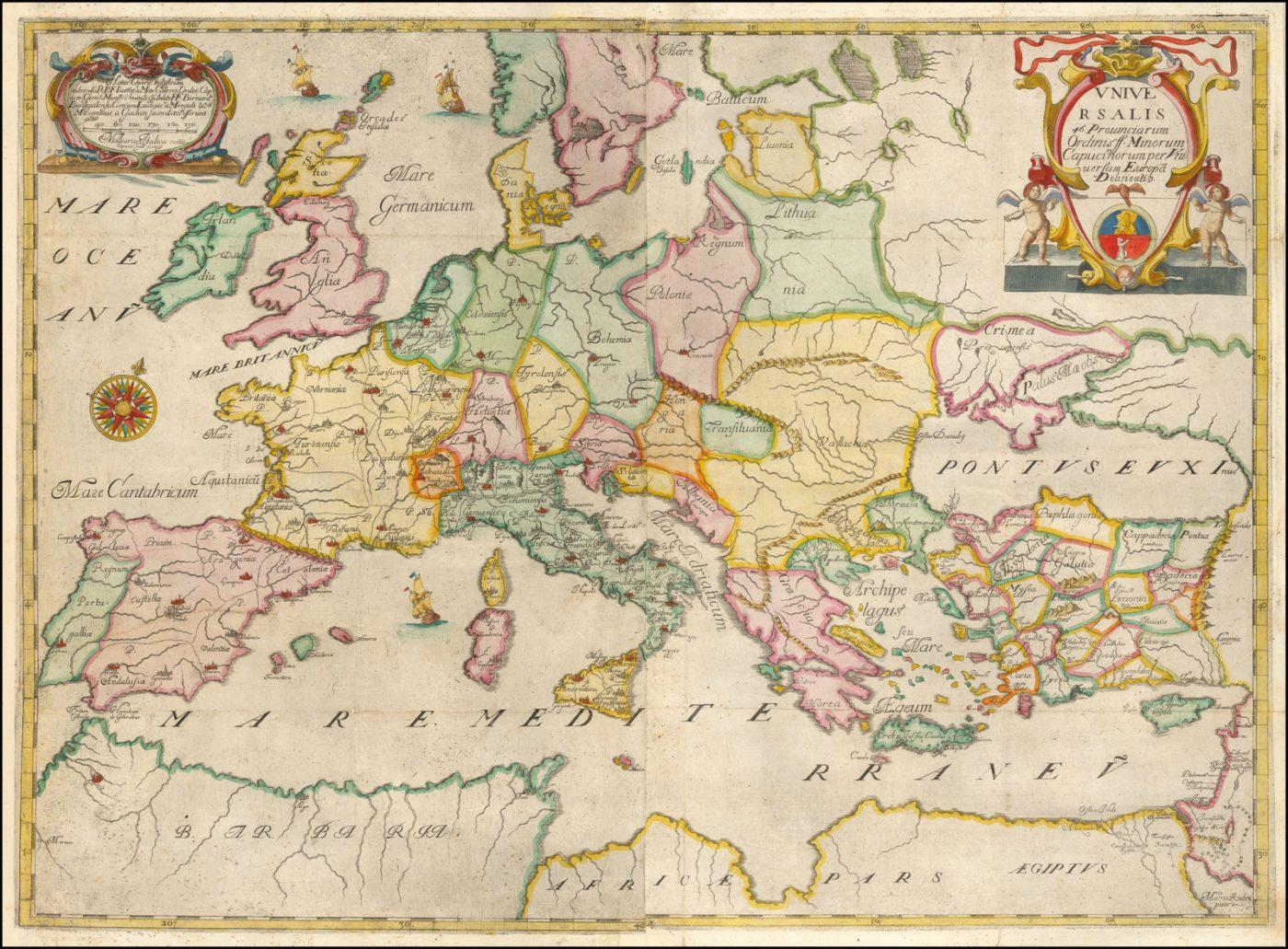 Редкая карта Европы, опубликованная в Атласе провинций Капуцинов, изданном Монтекалерио