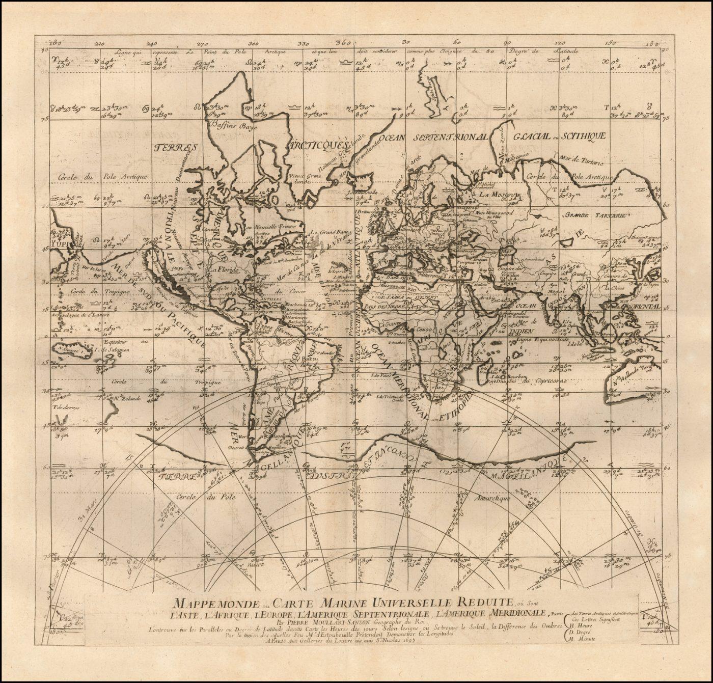 Редкая карта мира Пьера Мюллара-Сансона, демонстрирующая революционное средство определения долготы