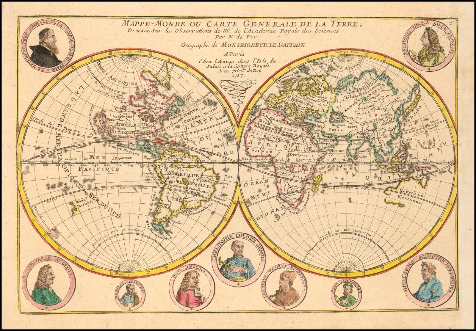 Редкая карта Николя де Фера 1717 года с портретами великих исследователей