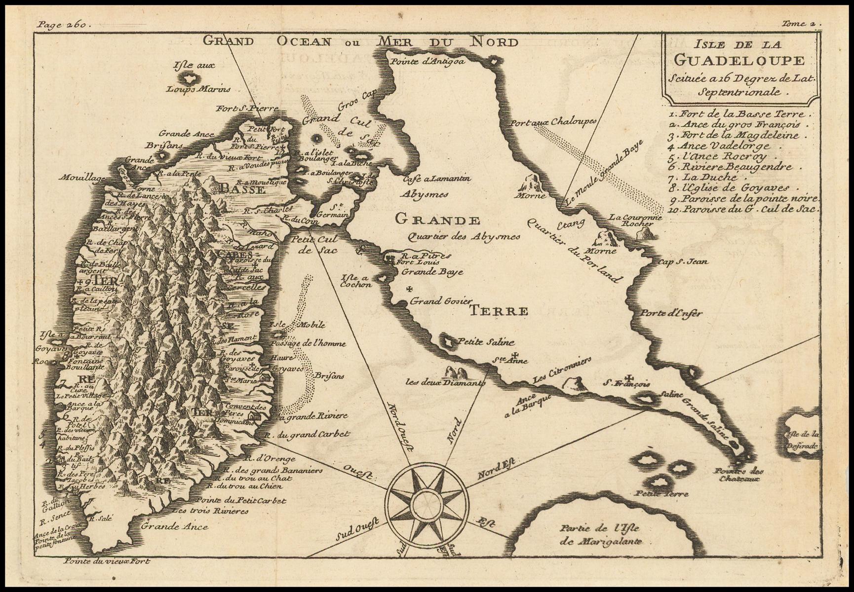 Редкая карта острова Гуадалупе и Карибского моря Николаса де Фер