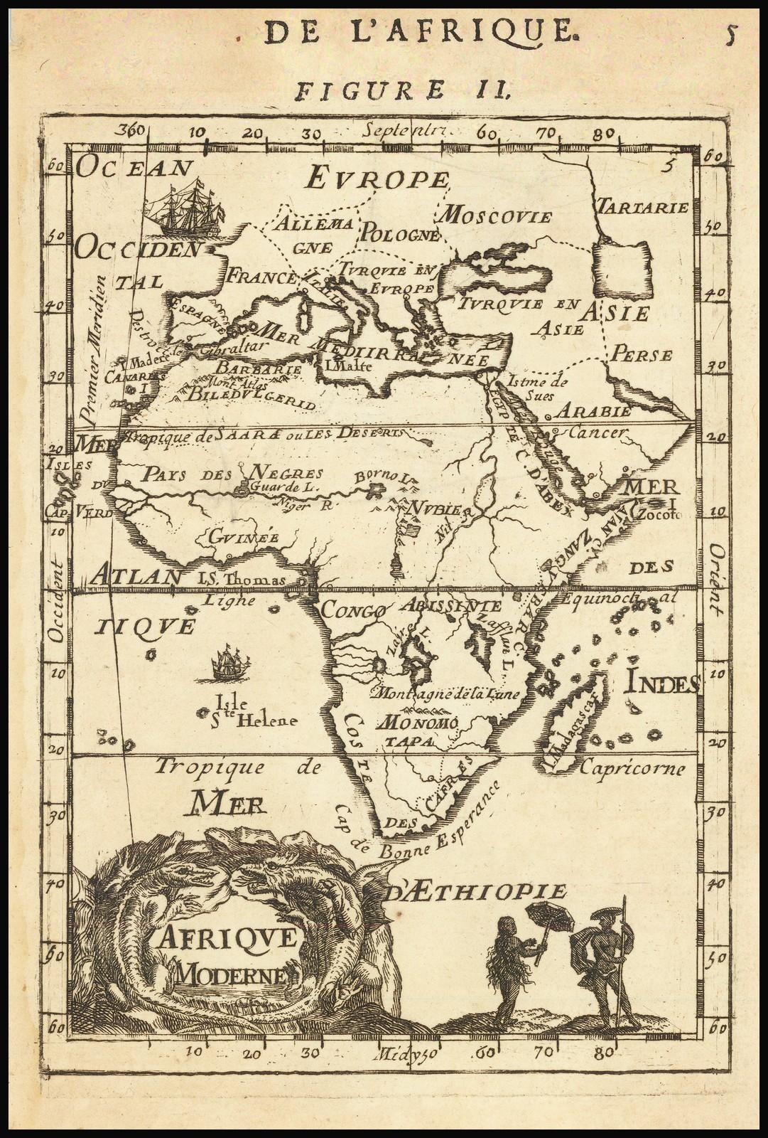 Редкая карта с изображением Африки, сделанная Аленом Маллетом в 1683 году
