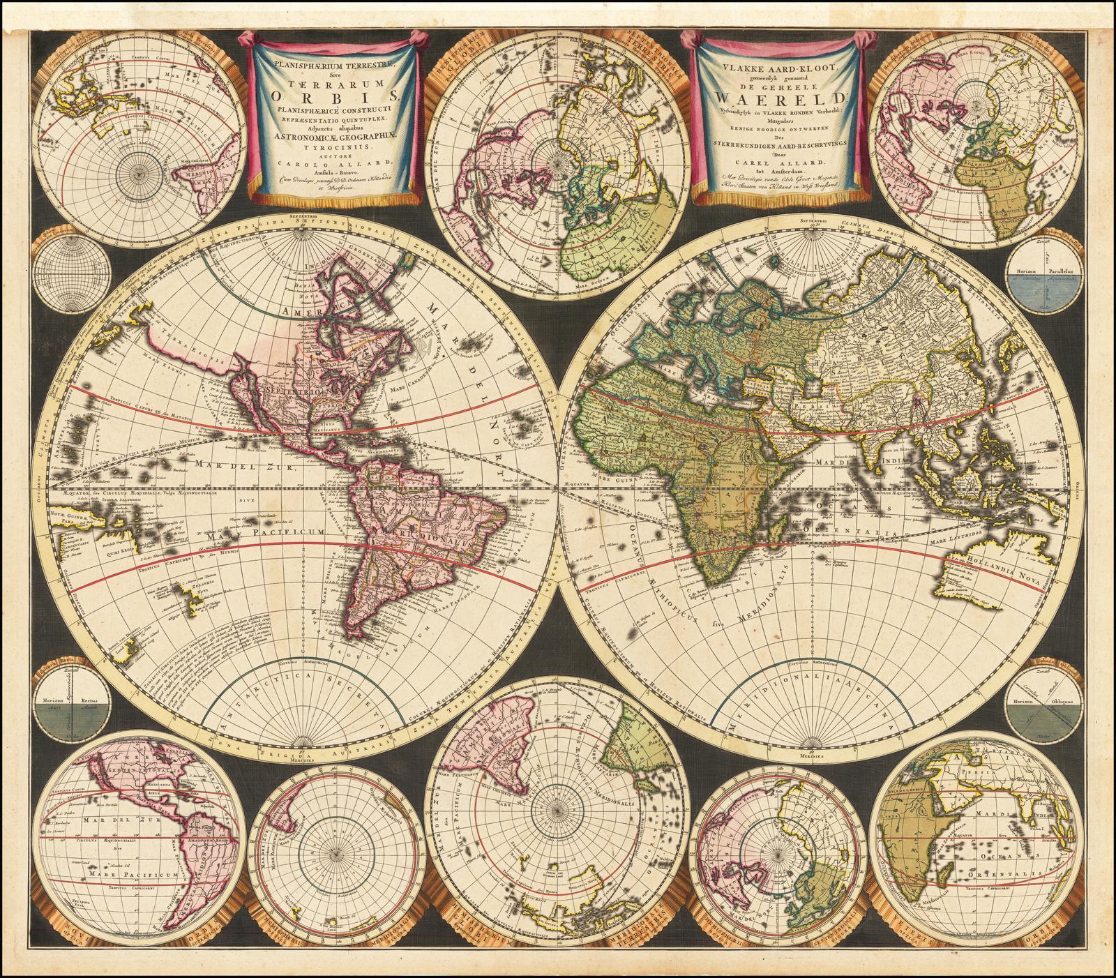 Редкая карта с изображением мира работы Алларда, сделанная в 1696 году