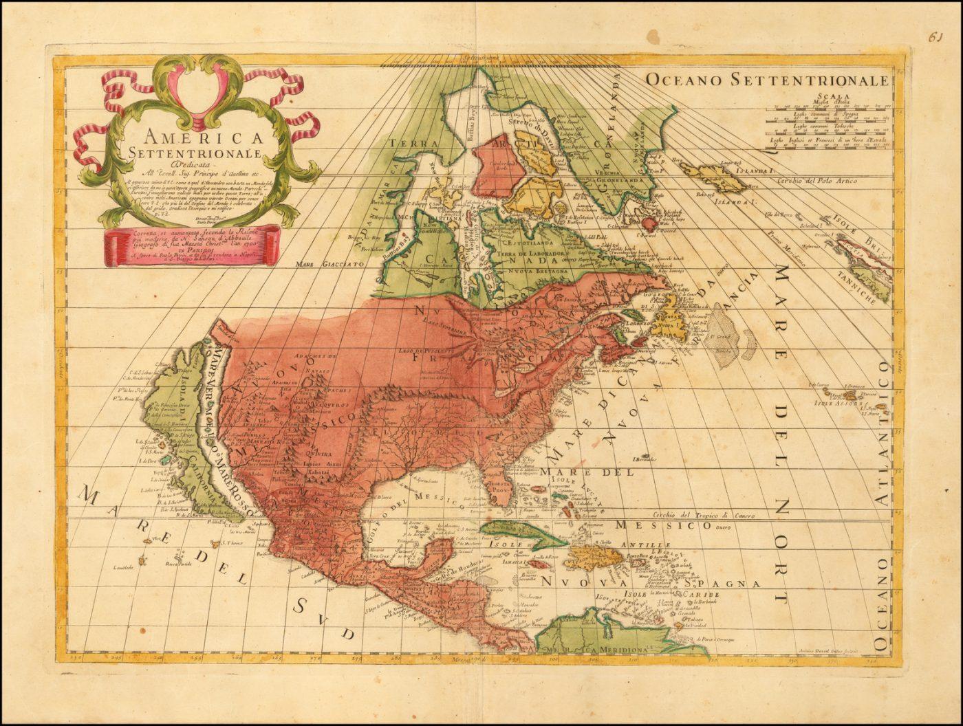 Редкая карта Северной Америки работы Паоло Петрини