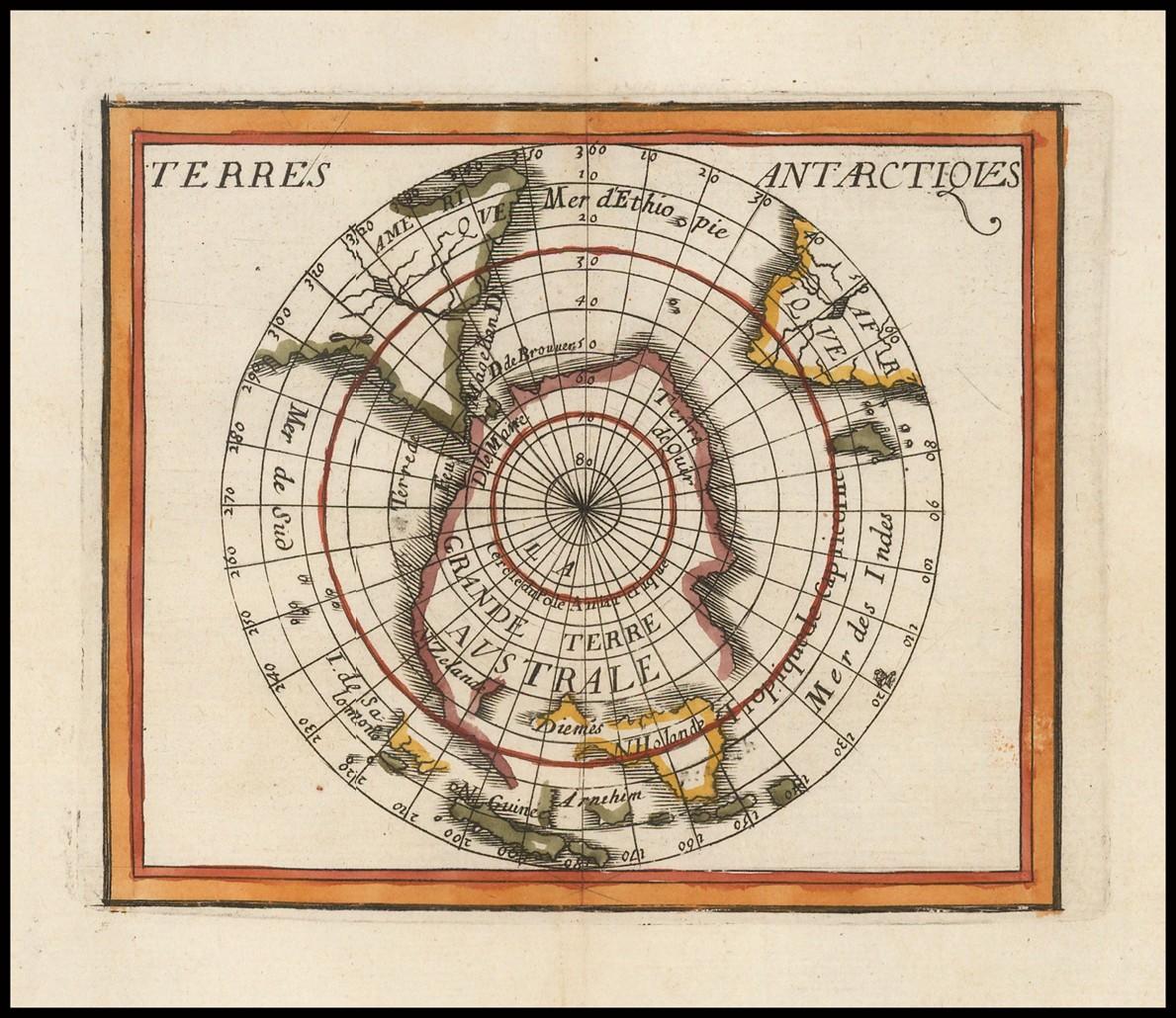 Редкая карта южного полушария, иллюстрирующая известные и воображаемые земли антарктических регионов