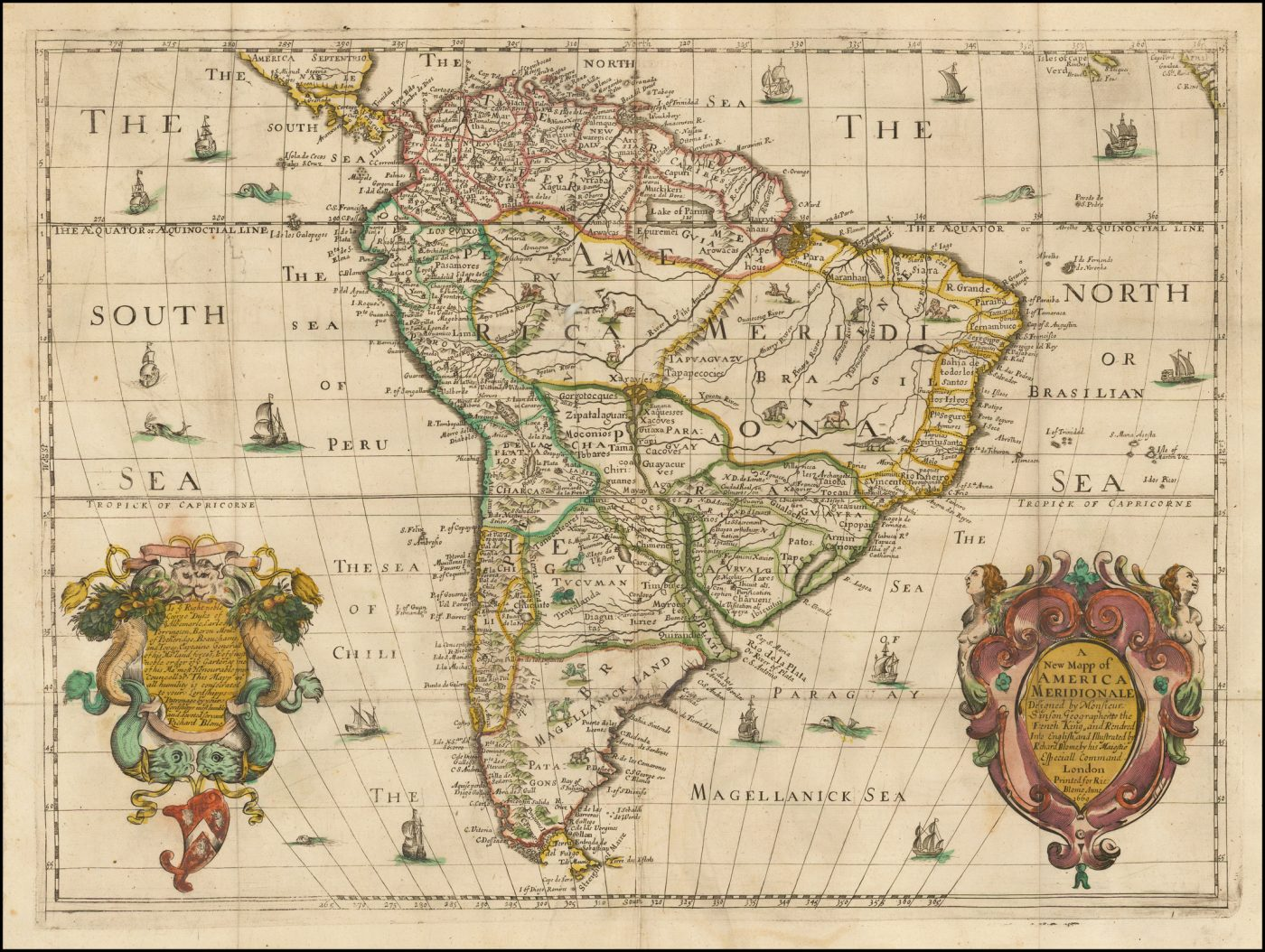 Редкая карта Южной Америки Ричарда Блома размером с фолиант, которая была выгравирована в Англии в 1669 году
