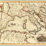 Редкая карта Западного Средиземноморья, опубликованная для иллюстрации работы французского путешественника и писателя Обри де ла Мотрэ