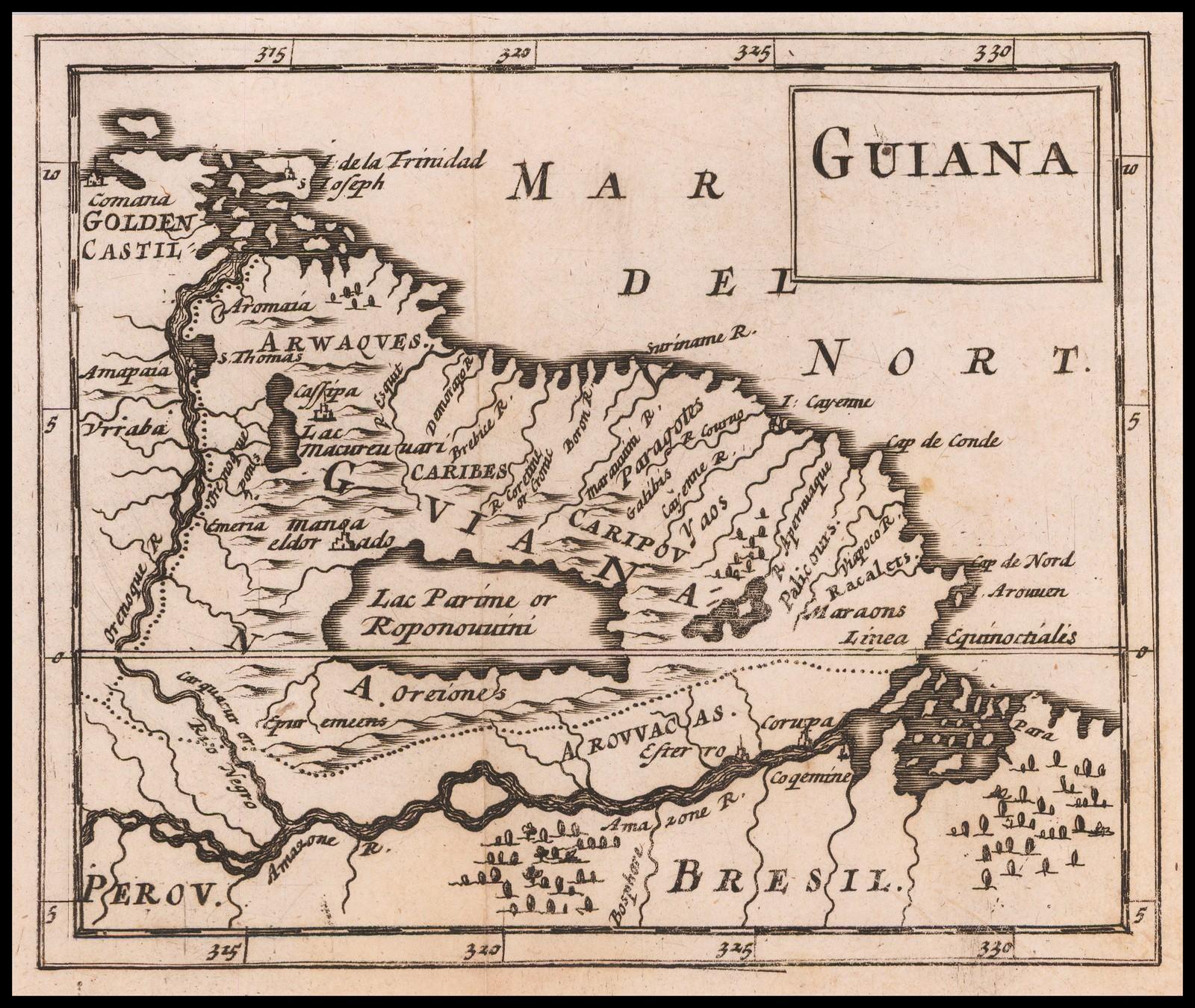Редкая миниатюрная английская карта Гвианы, включая Маноа или Эльдорадо