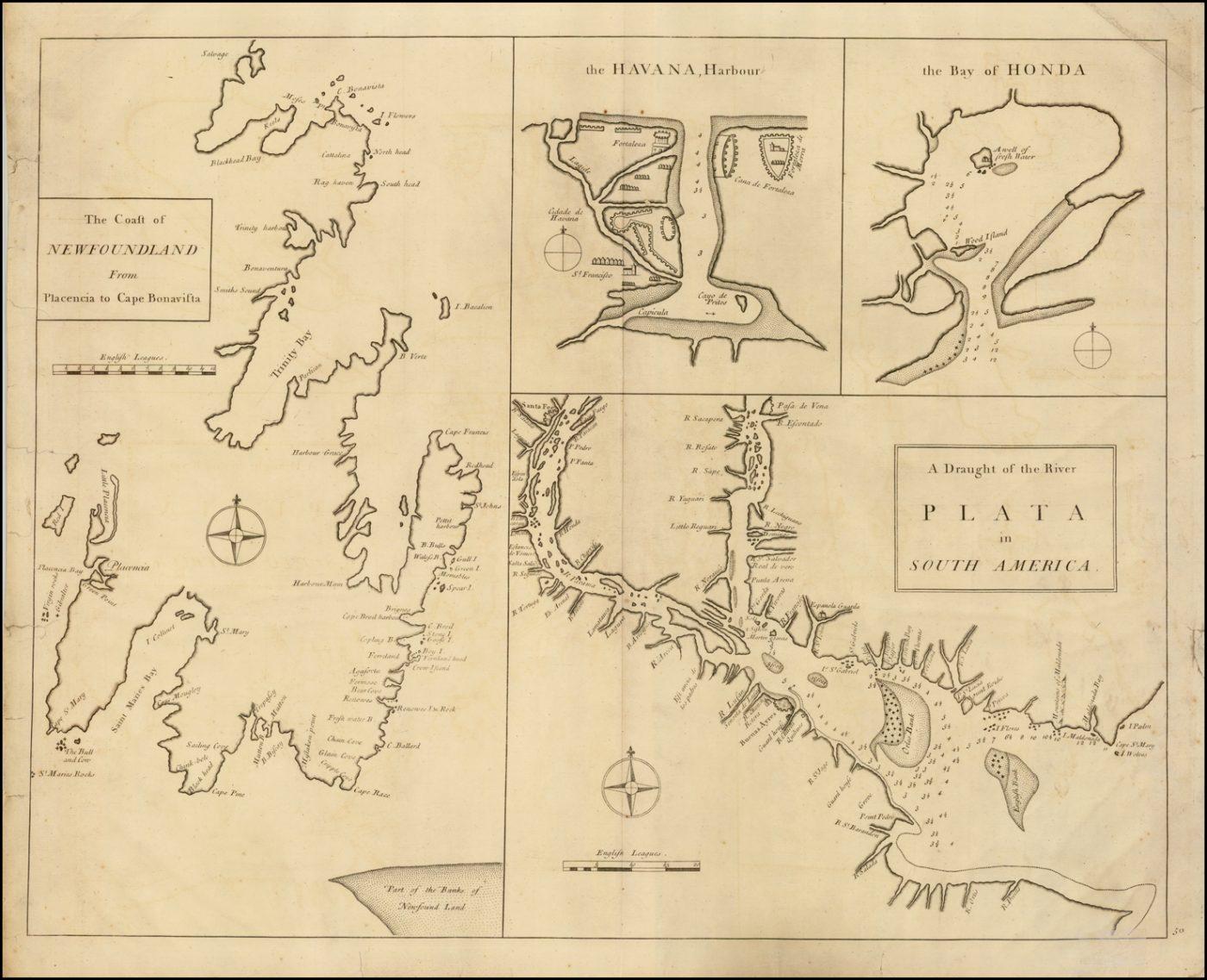 Редкая морская карта портов Северной и Южной Америки из влиятельного Атласа Maritimus et Commercialis