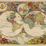 Редкая отдельно изданная карта мира Питера Шенка II, опубликованная в Амстердаме