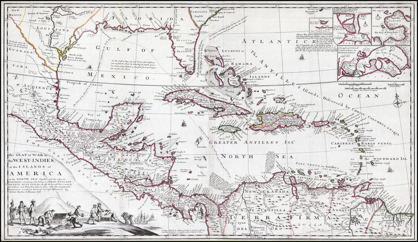 Редкая отдельно изданная карта театра военных действий во время войны Дженкинса, опубликованная в Лондоне около 1702 года Робертом Морденом и Германом Моллом