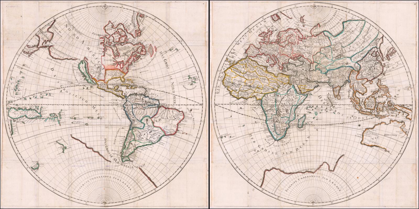 Редкая отдельно изданная настенная карта мира, изданная в Аугсбурге Гансом Георгом Боденером в 1682 году