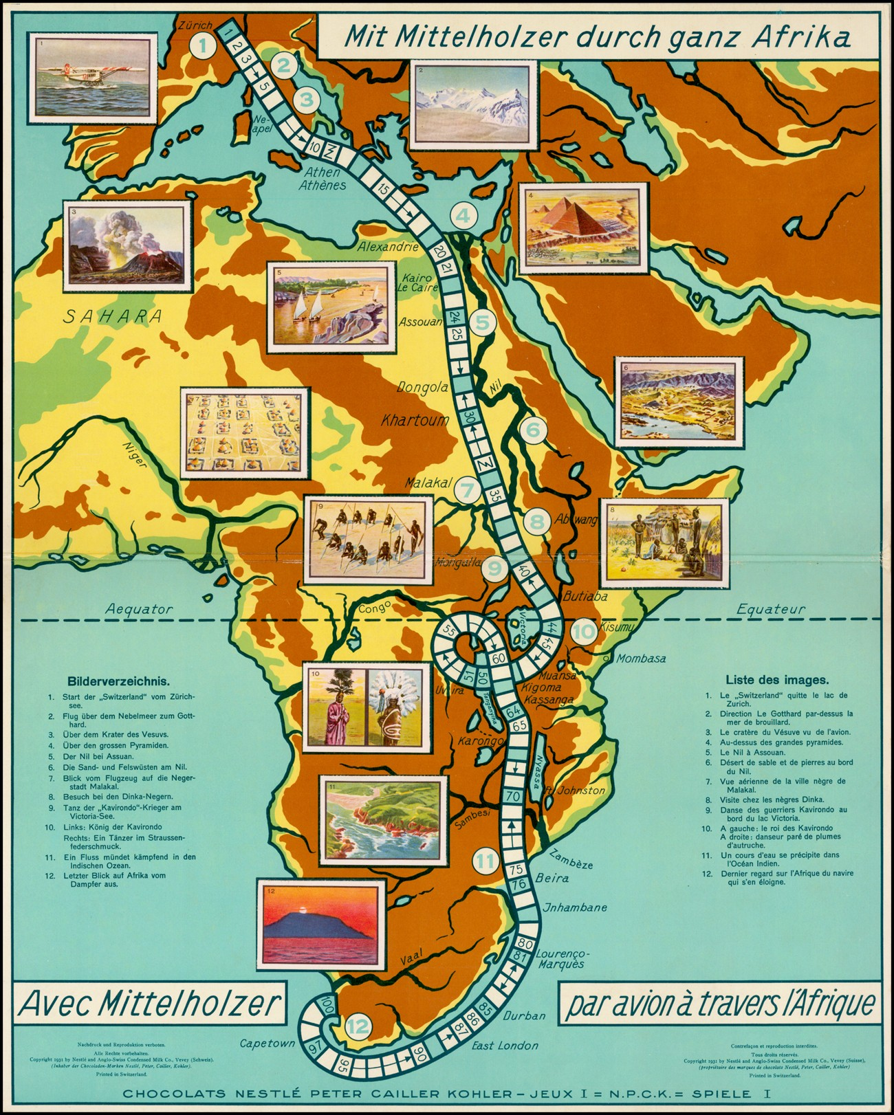Редкая памятная игровая доска Map of Africa изданная для компании Nestle, отслеживающая путешествия Вальтера Миттельхольцера по Африке