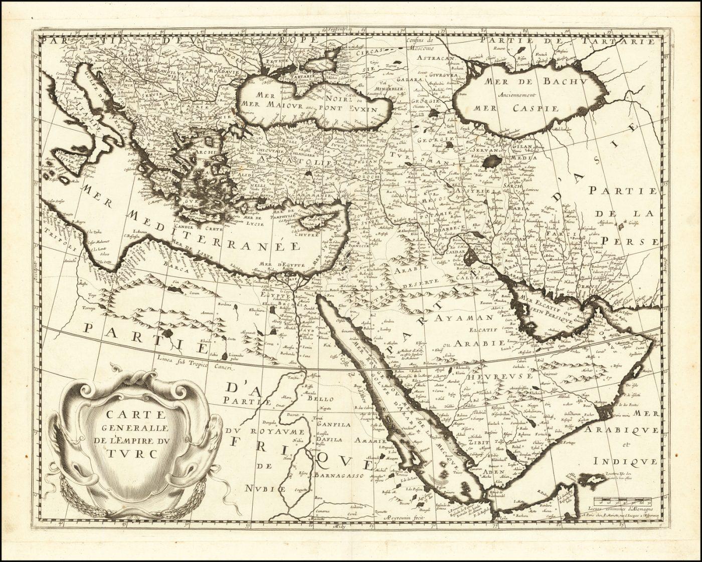 Редкая ранняя французская карта Турецкой империи, основанная на голландских картах Блау и Хондиуса