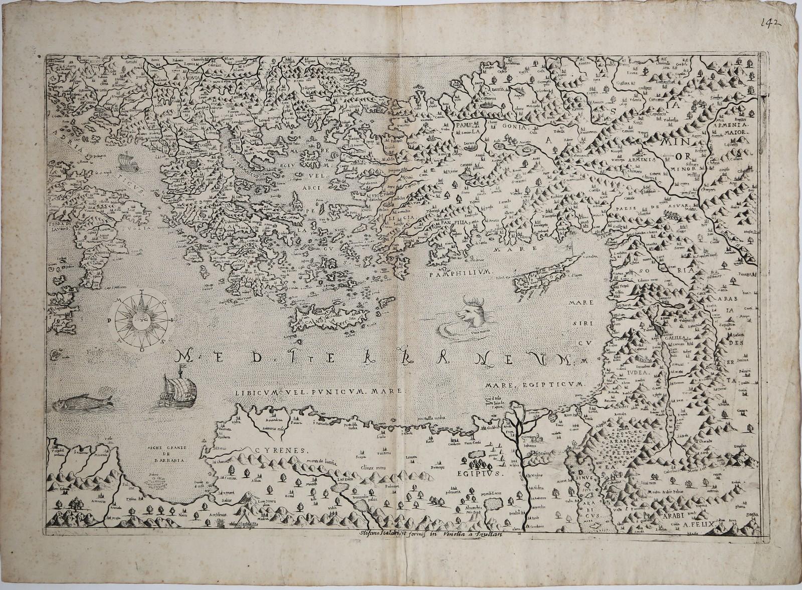 Редкая школьная карта Лафрери Восточного Средиземноморья и его окрестностей