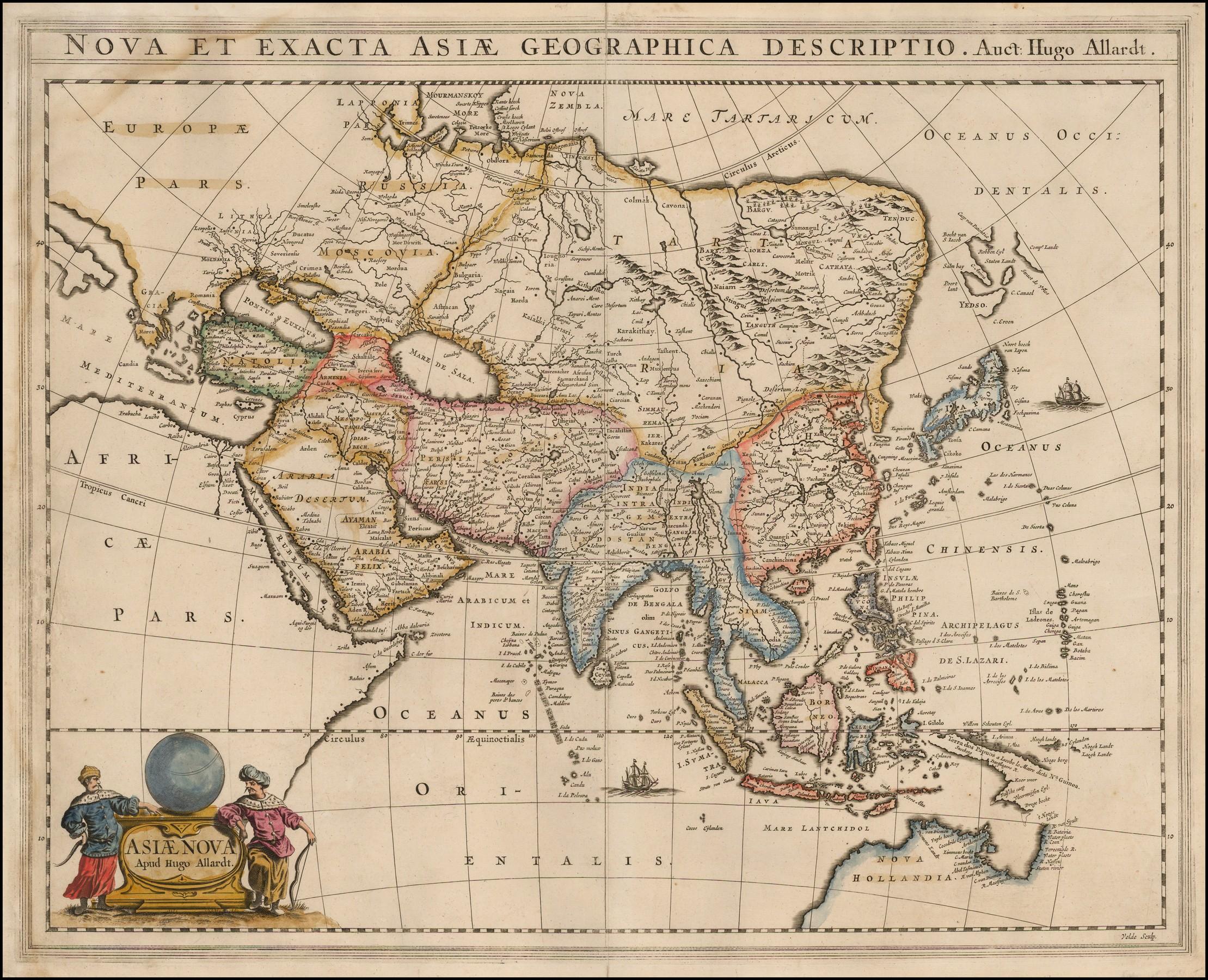 Редкая старинная карта Азии картографа Хьюго Алларда 1660 года