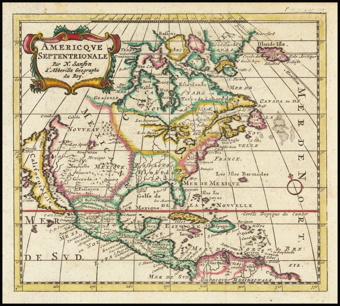 Редкий вариант издания карты Северной Америки Сансона, изображающей Калифорнию как остров