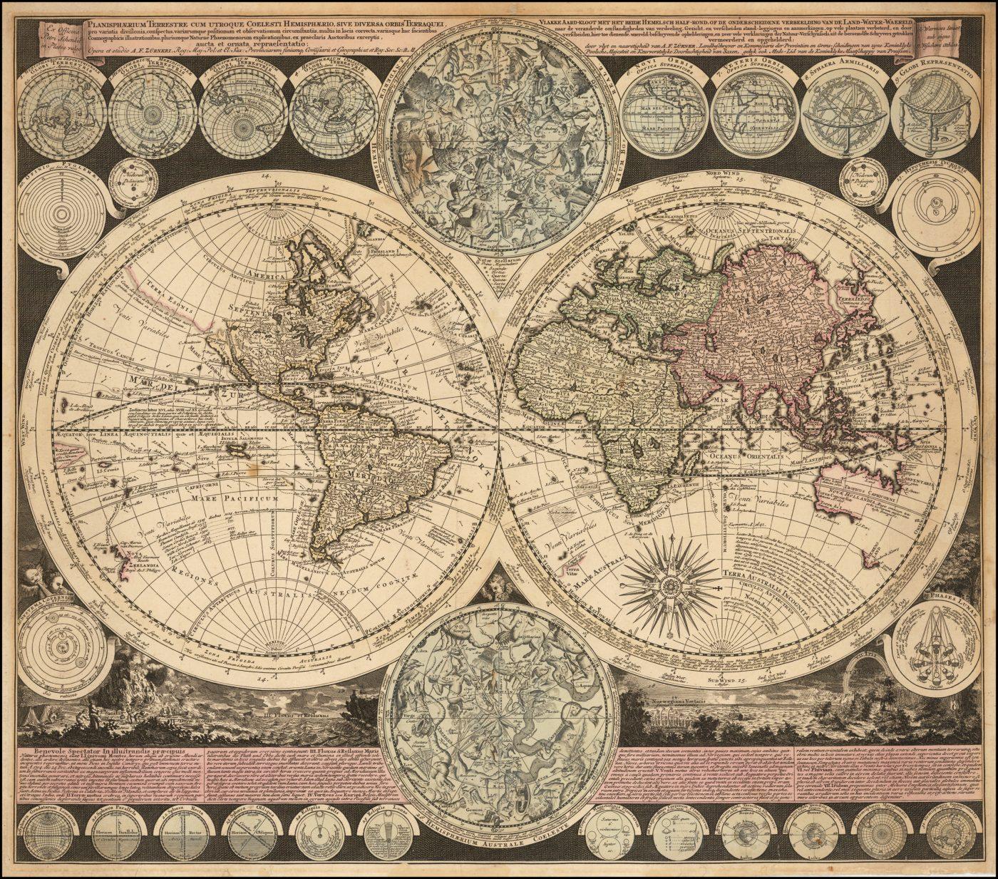 Сложная и информативная двухполушарная карта мира Адама Фрейдриха Цюрнера
