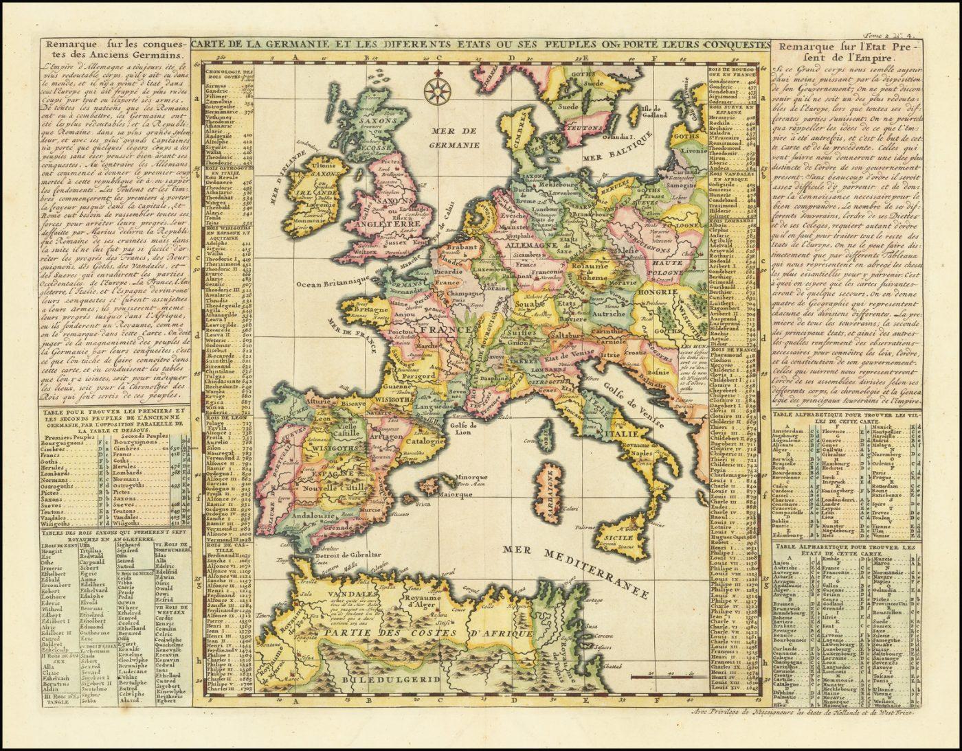 Средневековая история немецких завоеваний в Европе на карте Шатлена