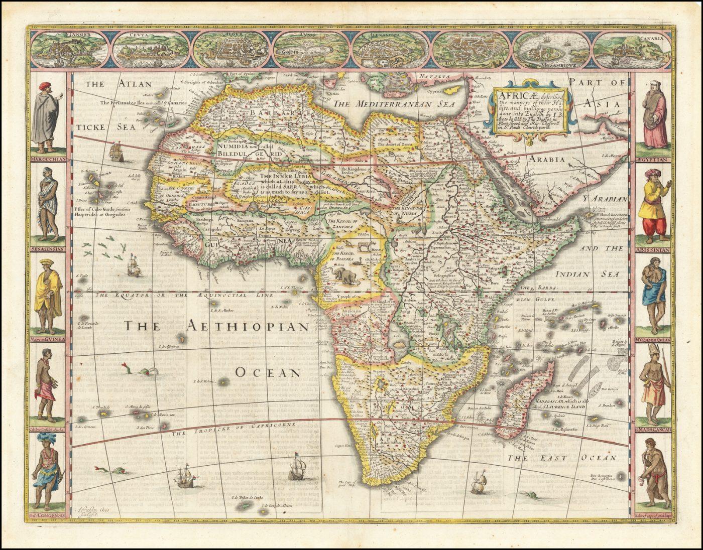 Старая карта Африки 17 века Джона Спида