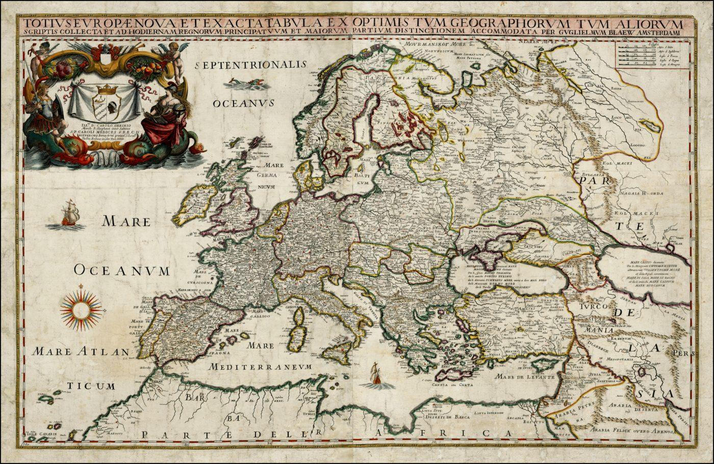 Старая карта Европы посвященная Карло Медичи, 1669 год