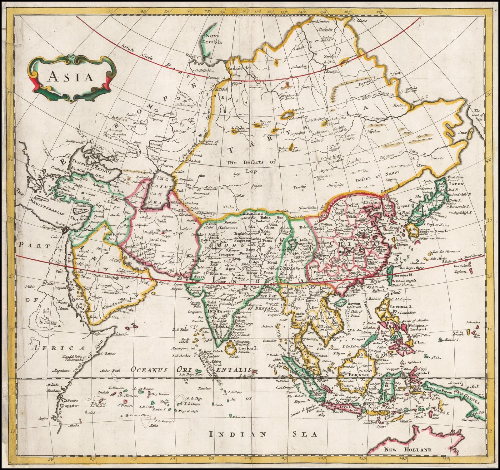 Старая карта Мордена с изображением Азии, 1703 год