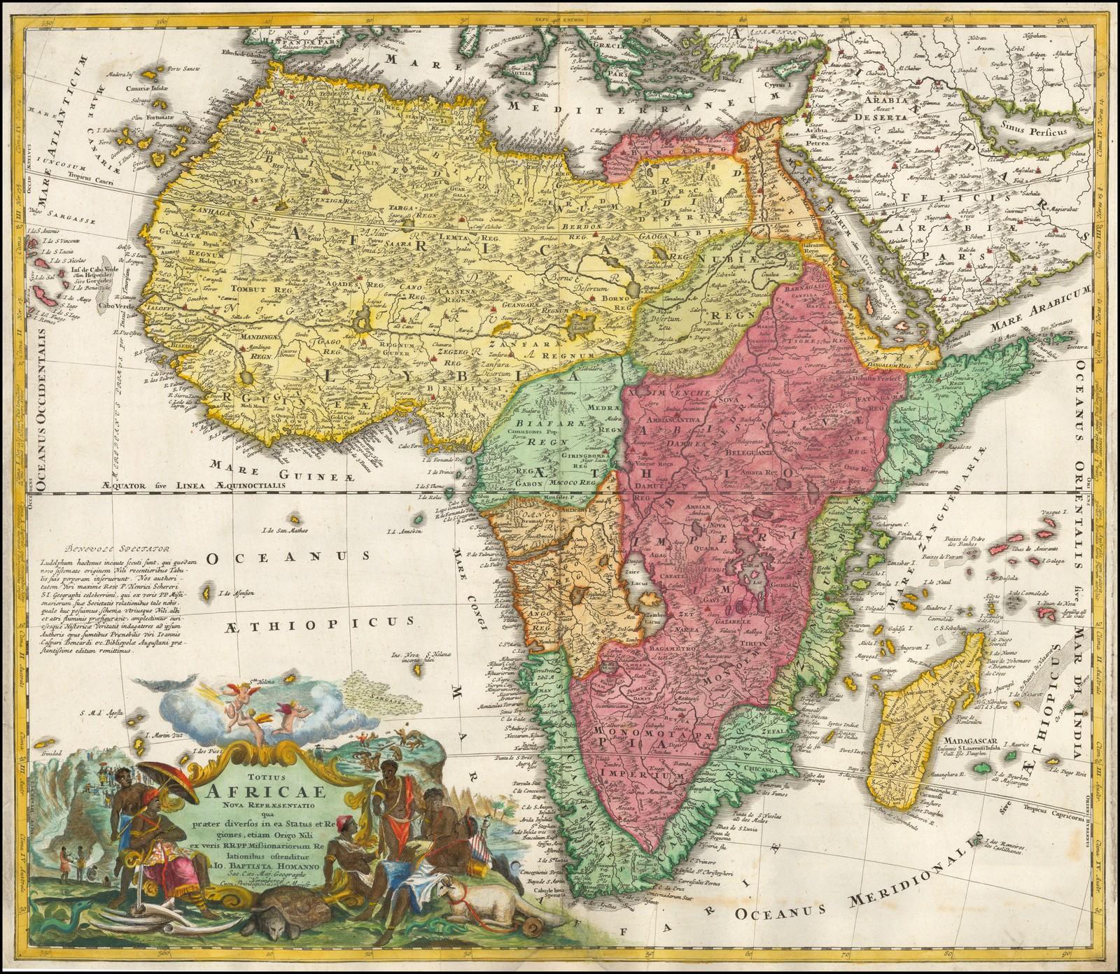 Старинная карта Африки начала 18 века Иоганна Хоманна