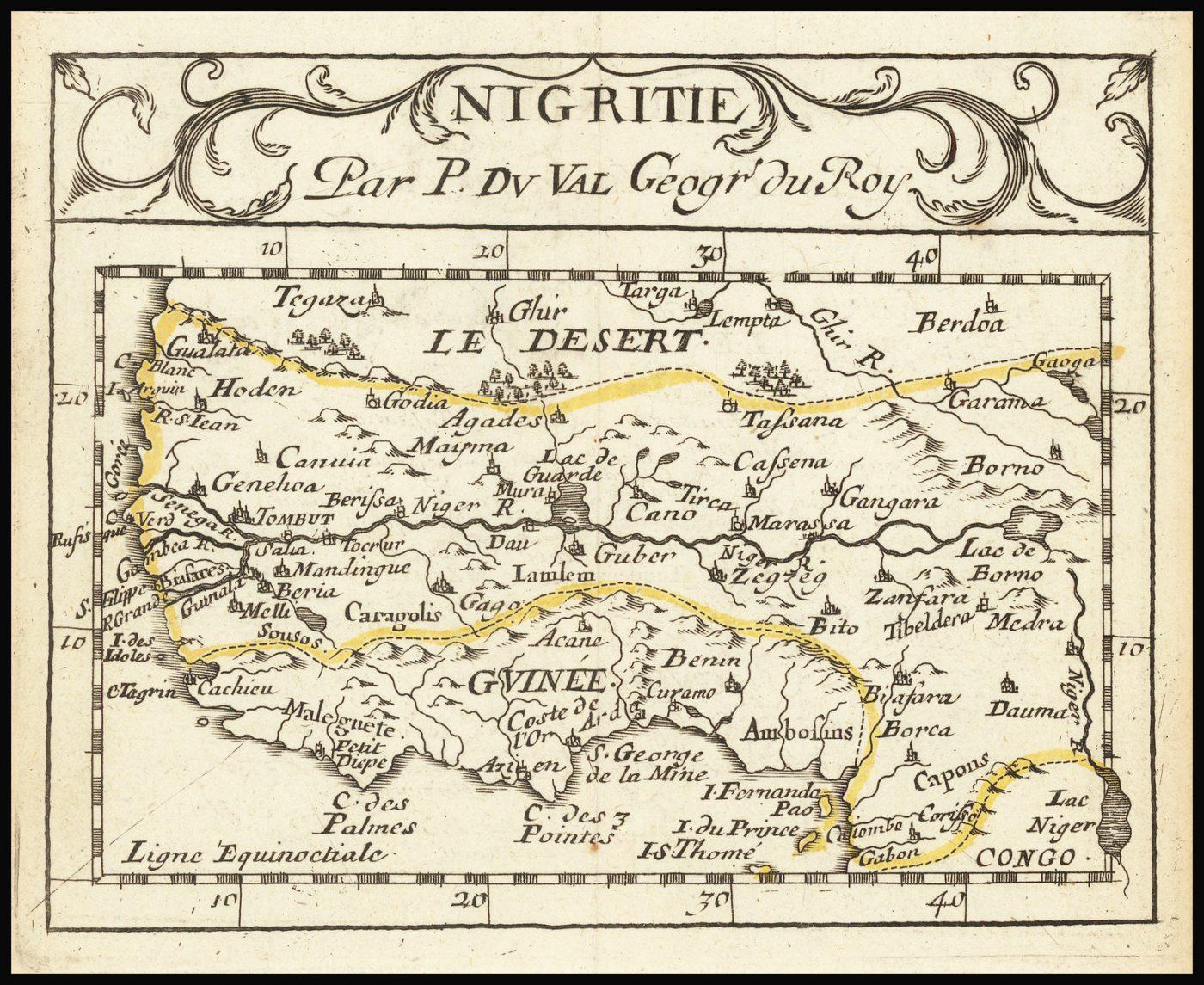 Старинная карта Африки работы Дю Валя, сделанная в 1676 году