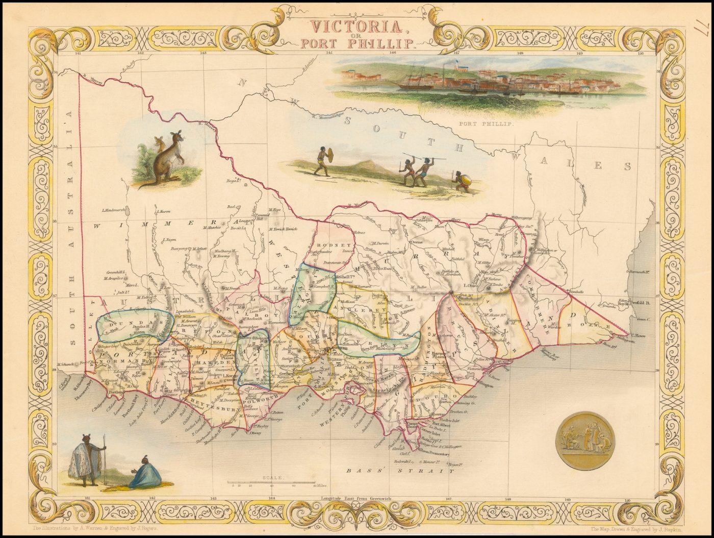 Старинная карта Австралии с изображением Виктории или Порт-Филипа, составленная Таллисом в 1851 году