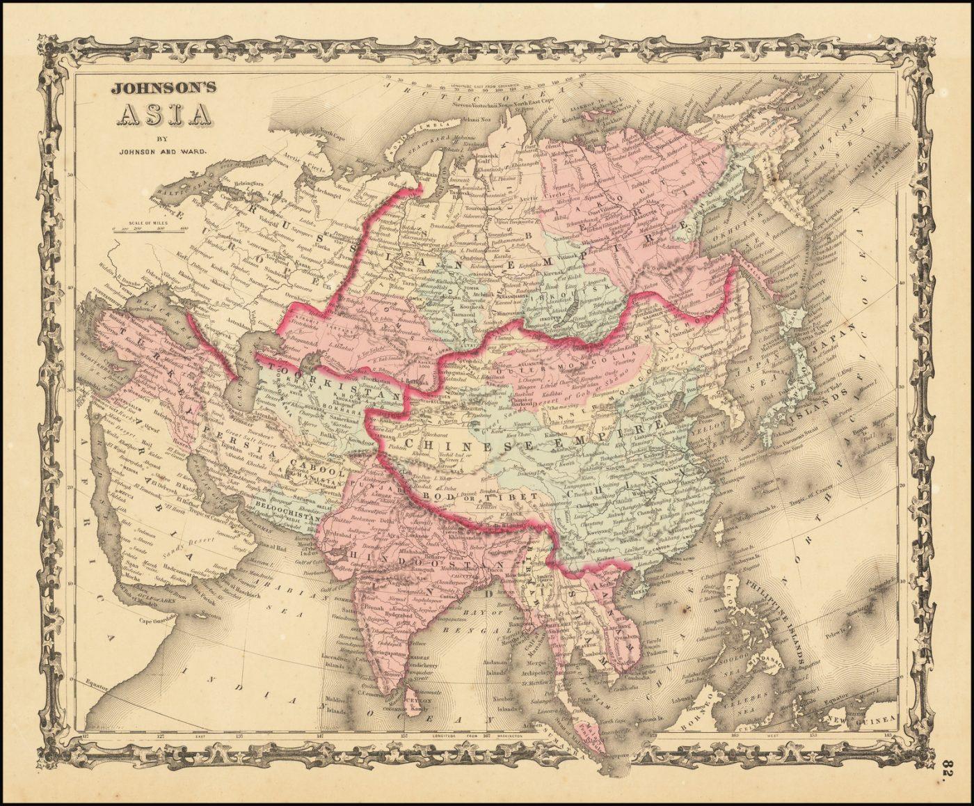 Старинная карта Азиатского континента Элвина Джуэтта Джонсона, раскрашенная вручную по странам и провинциям