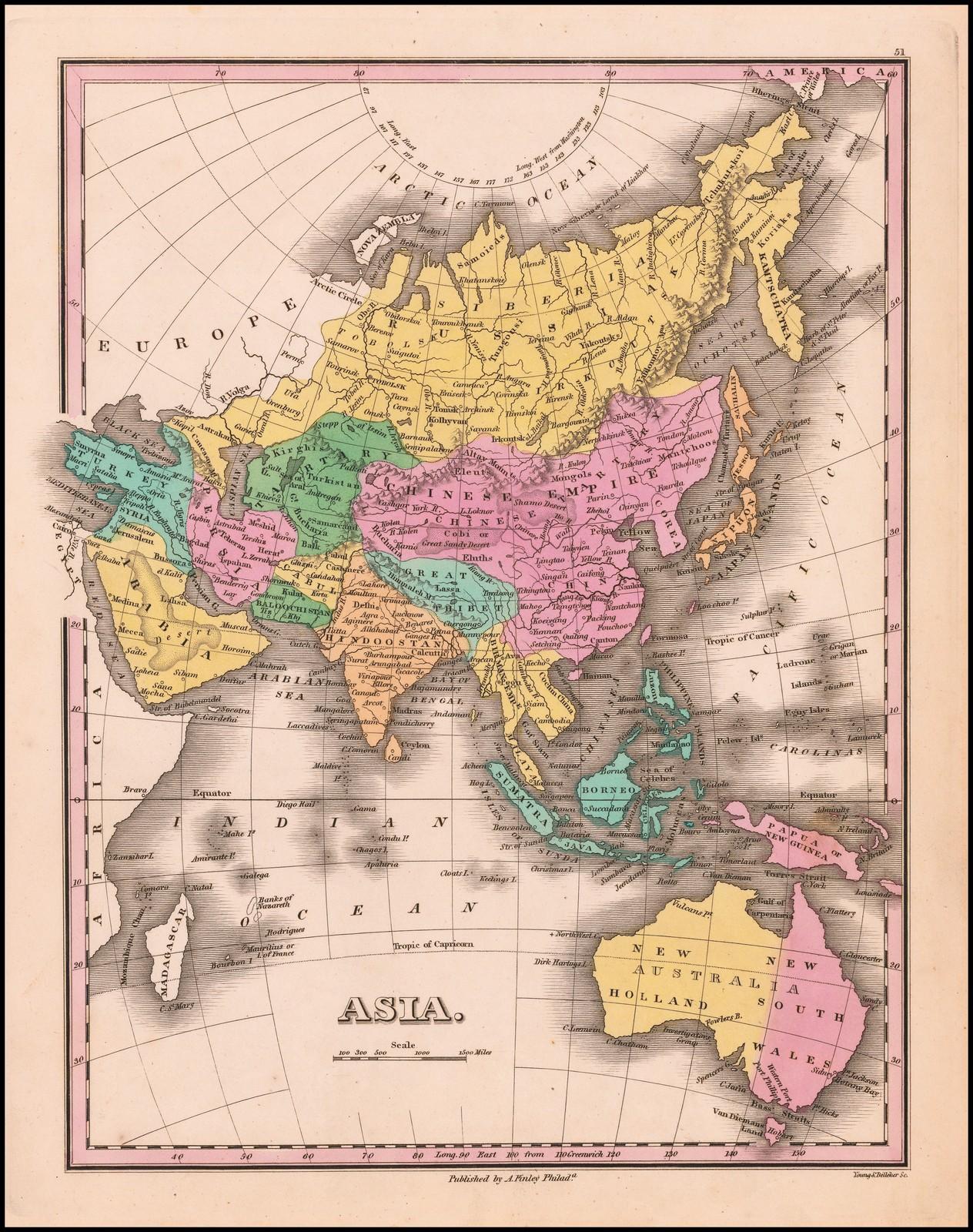 Старинная карта Азии работы Финли, сделанная в 1827 году