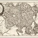 Старинная карта Азии работы Шерера сделанная в 1710 году