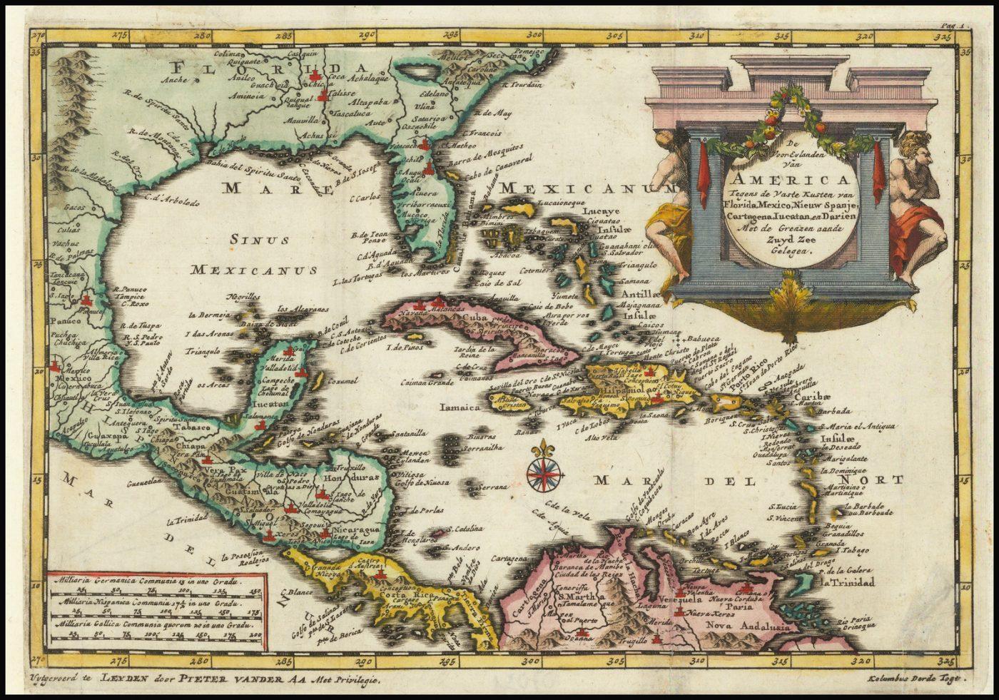 Старинная карта Флориды и Карибского бассейна, используемая Питером ван дер Аa для иллюстрации голландского перевода рассказа об одном из путешествий Колумба в Новый Свет