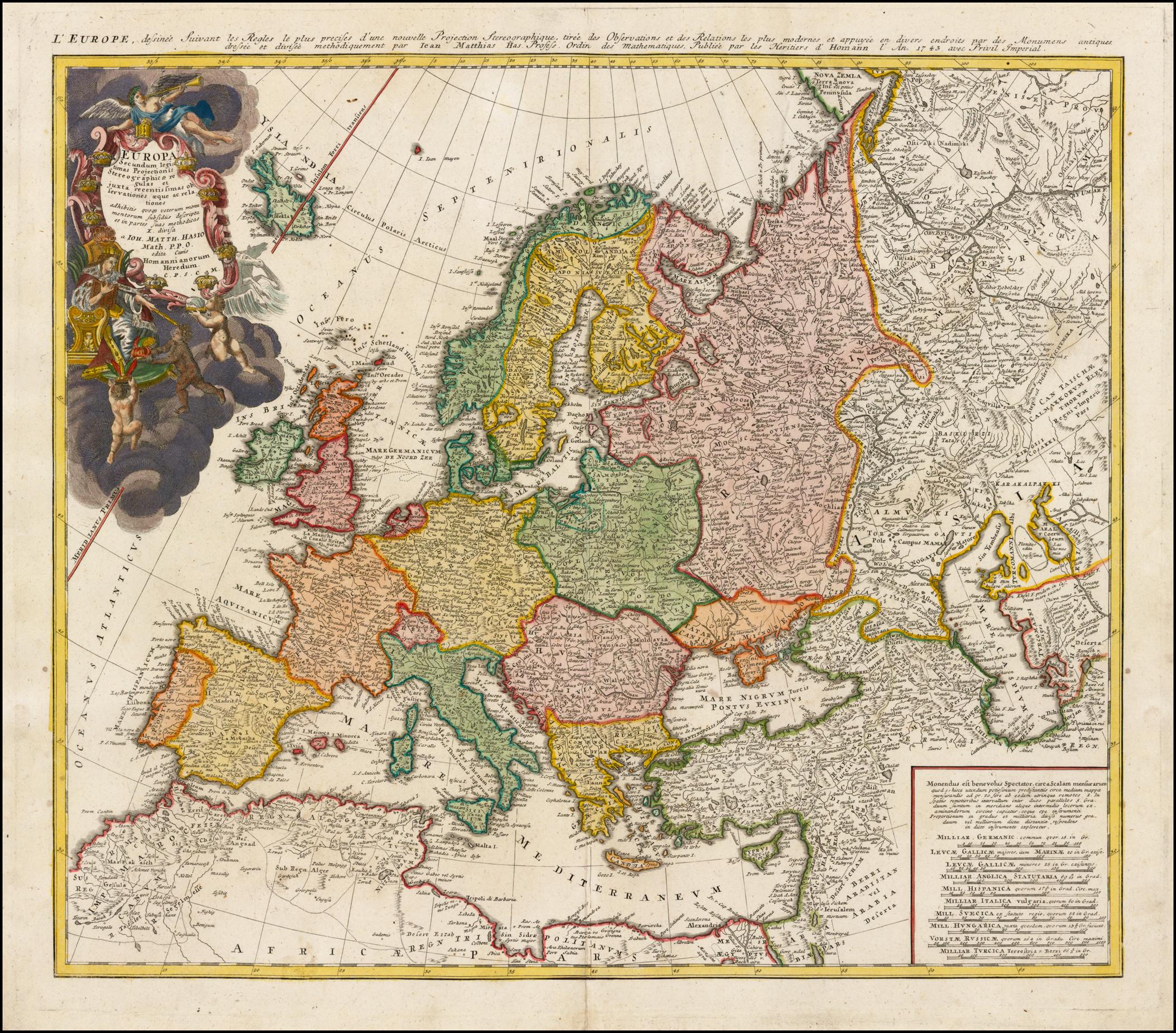 Старинная карта Хааса 1743 года с изображением Европы