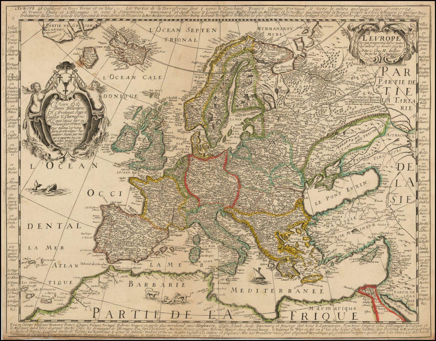 Старинная карта, изображающая Европу от Джайло, 1668 год