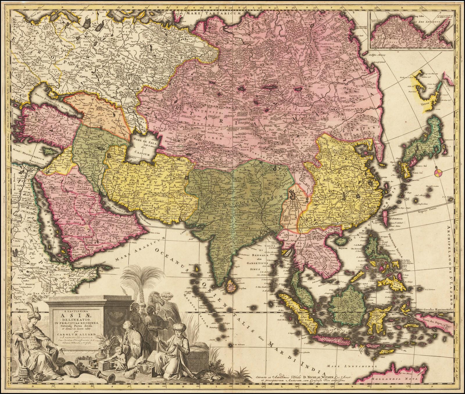 """Старинная карта Кэрол Аллард """"Точная Азия, разделенная на основные регионы"""""""