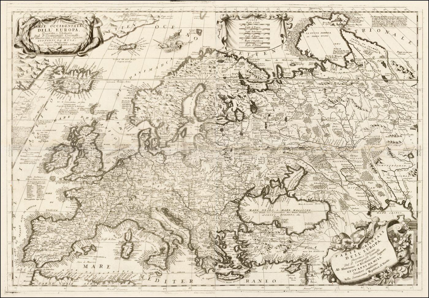 Старинная карта Коронелли 1692 года с изображением Европы