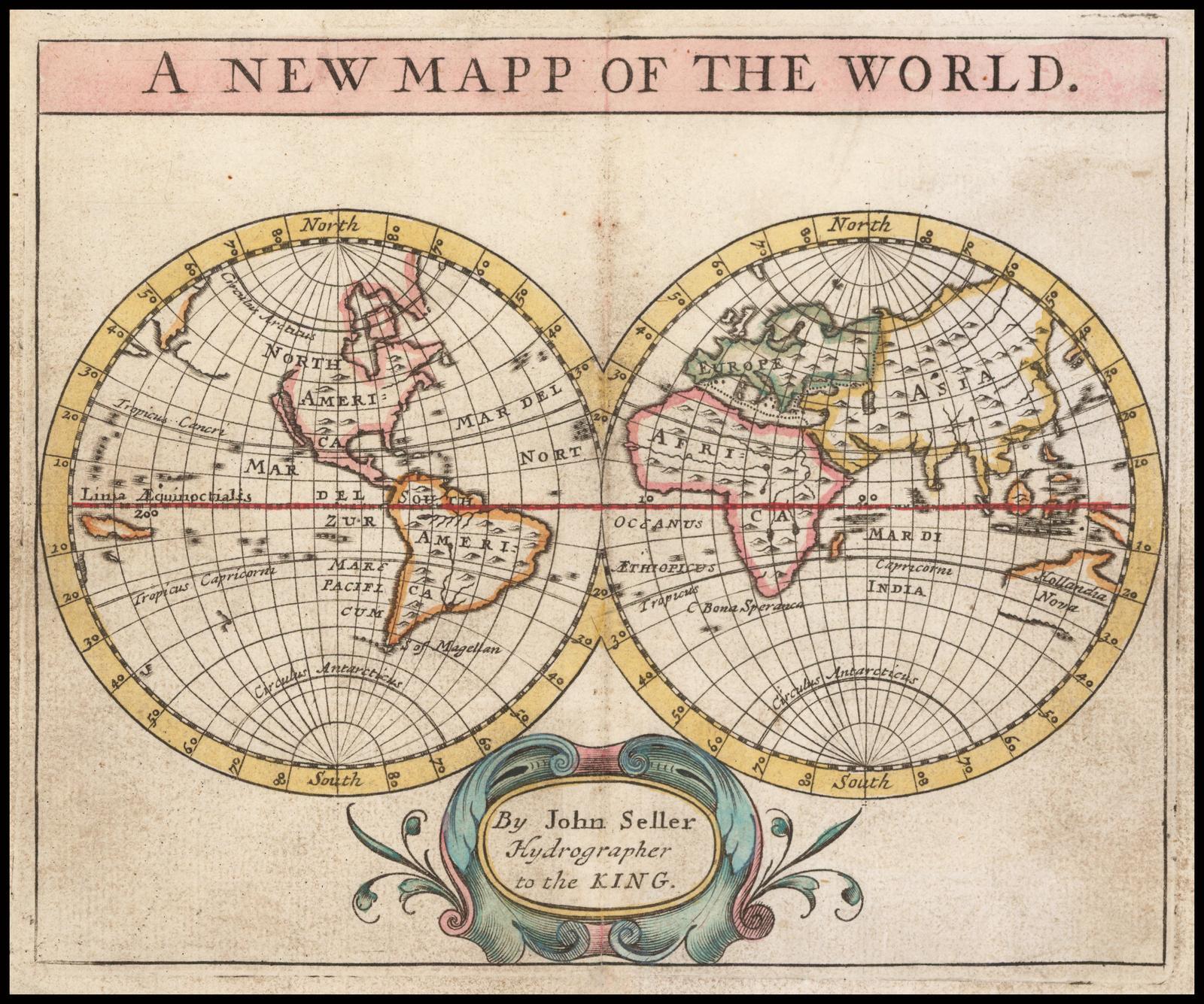 Старинная карта мира Джона Селлера 1684 года