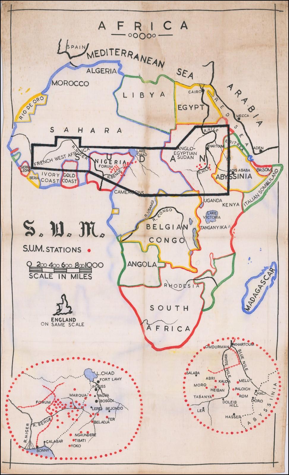 Старинная карта, показывающая Африку Объединенной миссией Судана, сделанная в 1920 году