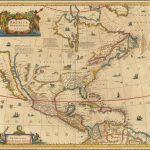 Старинная карта Северной Америки 17 века Хондиуса и Янссона