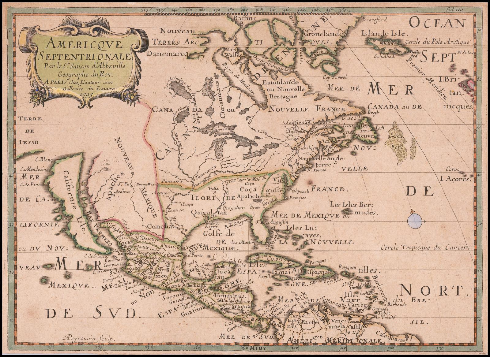 Старинная карта Северной Америки Пьера Муллара Сансона 1705 года