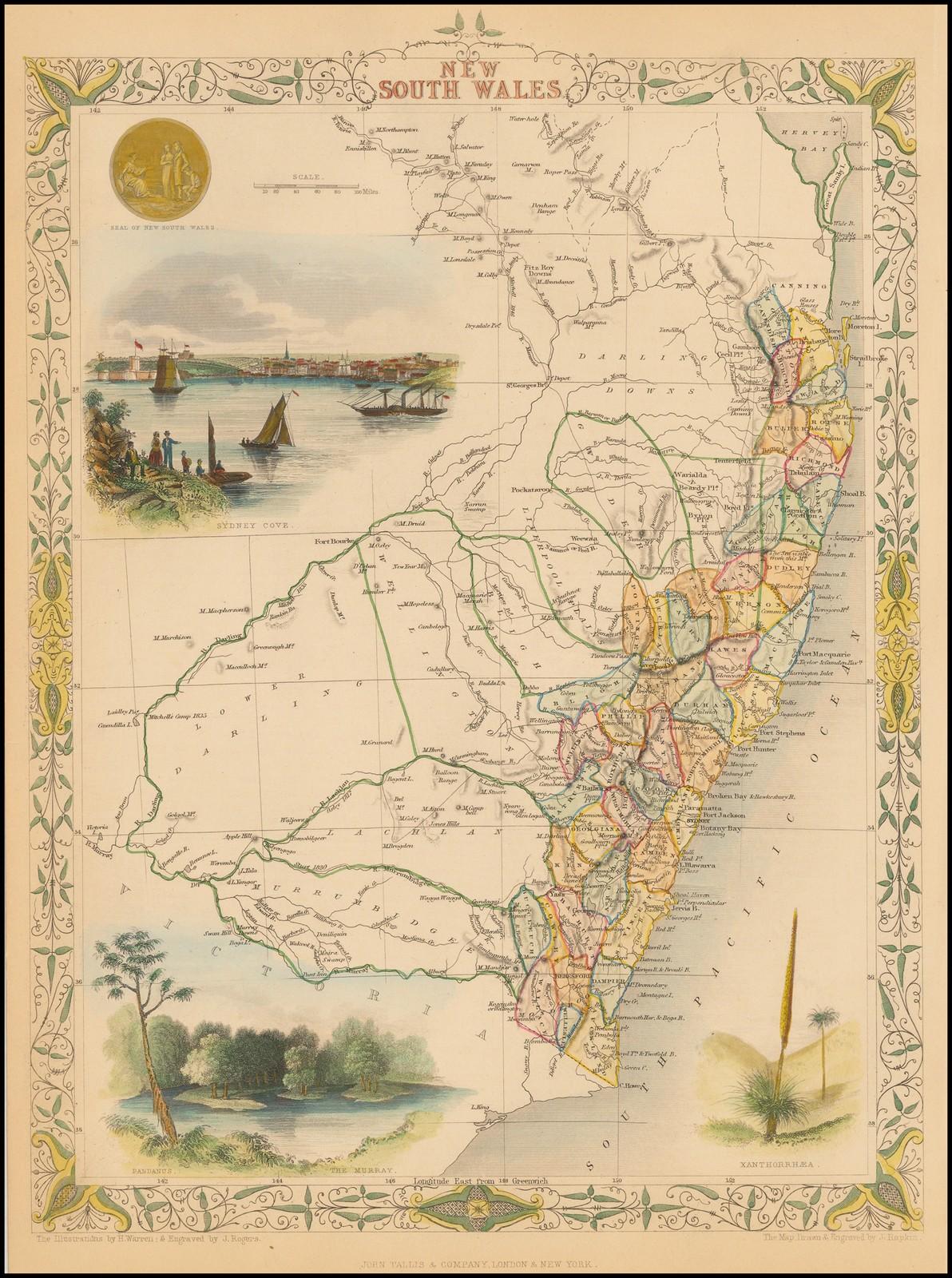 Старинная карта Таллиса 1851 года с изображением Австралии