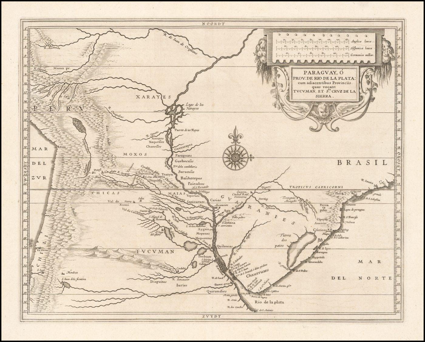 Старинная карта Южной Америки опубликованная Йоханнес де Лаэт, 1633 год