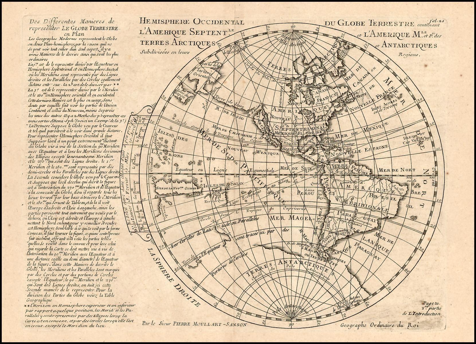 Старинная карта Западного полушария Сансона, 1702 год