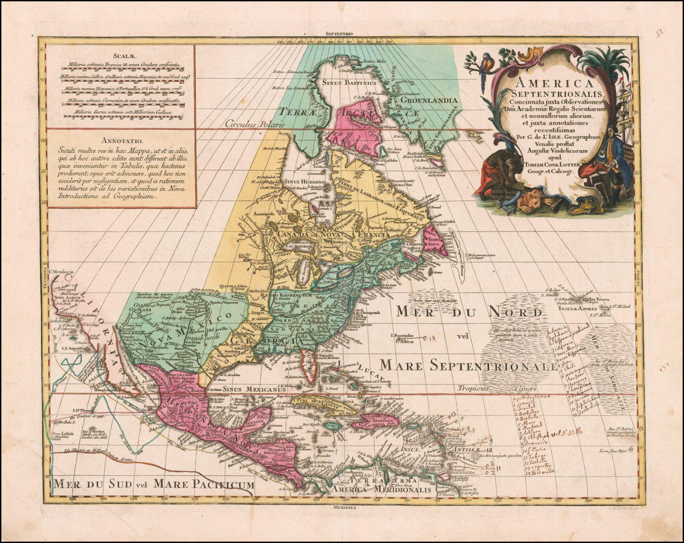 Старинная раскрашенная карта Северной Америки Тобиаса Лоттера 1760 года