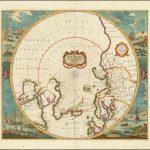 Старый цветной пример карты северных полярных областей Янссона, переработанной Фредериком де Виттом