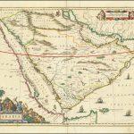 Цветная карта Аравии Йоханнеса Блау, которая появилась только в последних 5 изданиях Атласа майора Блау, между 1661 и 1672 годами